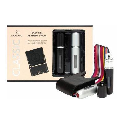 Travalo Classic Take 2 Duo Set 2 X 5ml Perfume Refill Sprays + Case (black/silver)